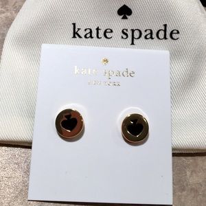 Kate Spade Gold-Tone Black Enamel Spade Earrings